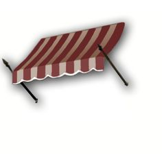 AWNTECH 40 ft. New Orleans Awning (56 in. H x 32 in. D) in Burgundy / Tan Stripe, Brown/Tan