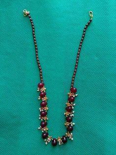 Ruby and pearl neckles Price: 700 India Jewelry, Bead Jewellery, Gems Jewelry, Pendant Jewelry, Bridal Jewelry, Beaded Jewelry, Jewelery, Beaded Necklace, Gold Jewelry Simple