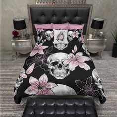 Lightweight Pink Lilly Skull Bedding Black and Pink Skull Design Skull... ($119) ❤ liked on Polyvore featuring home, bed & bath, bedding, duvet covers, home & living, white, king pillowcases, king size pillow case, cal king duvet and california king duvet