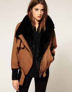 Image 1 ofFull Circle Faux Fur Lined Bomber Jacket