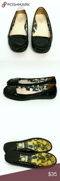 "Coach ""Gretchen"" Black Patent Loafers Coach brand ""Gretchen"" black patent loafers, women's size 6. Black patent upper, clear rubber on soles with signature C pattern underneath. In pre-owned condition with some wear to patent leather. Detail photo provided of area of concentrated wear to heel of right shoe. Coach Shoes Flats & Loafers"