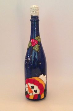 Wishing upon a Star/ Snowman Wine Bottle/ Wine by RosBelTreasures