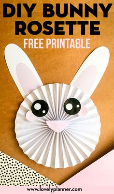 This Free Printable DIY Bunny Rosette can be perfect for your Easter decor, party decor or just as a fun craft with kids. Bunny Crafts, Easter Crafts For Kids, Crafts For Teens, Kids Diy, Easter Ideas, Easter Recipes, Easter Activities, Activities For Kids, Snail Craft