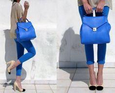 electric blue handbag and nude+black pumps