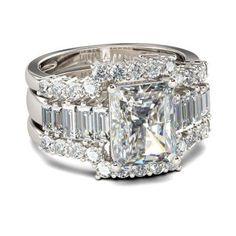 Jeulia 3PC Radiant Cut Created White Sapphire Wedding Set 4.68 CT