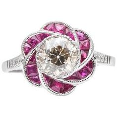 Floral Champagne Diamond Ruby Engagement Ring in Platinum