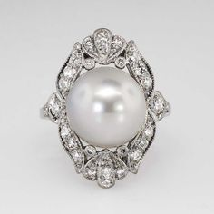 Estate Majestic Silvery 10.85mm South Sea Pearl & .50ct t.w. Diamond Ring 18k | Antique & Estate Jewelry | Jewelry Finds