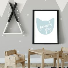 This cat silhouette kids name art is perfect for any cat lover's room.  Add personality to the decor with a personalized name poster.  Customize colors to match the child's room.  #nameart #kidsroom #cats Playroom Wall Decor, Nursery Room Decor, Boys Room Decor, Kids Decor, Nursery Ideas, Room Ideas, Kids Name Art, Art Wall Kids, Art For Kids