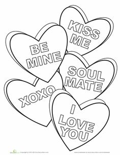 Candy Hearts Coloring Page. Worksheets For KidsValentine IdeasValentines  DayHeart Coloring PagesFree ...