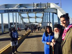Archbishop Demetrios and John Sarbanes on the Pettus Bridge  during the 50th anniversary of Bloody Sunday in Selma, Ala.
