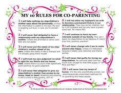 Your Printable 10 Rule for Co-Parenting  This list was originally published as part of an article in StepMom Magazine, April 2014.
