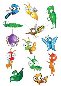 Collection of insect vector 1392659 - by Thanamat on VectorStock® Stone Crafts, Rock Crafts, Arts And Crafts, Cartoon Drawings, Animal Drawings, School Murals, Free Photoshop, Applique Patterns, Art Plastique