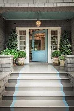 Cottage Front Door with Paint 1, Raised beds, Casement, exterior concrete tile floors, exterior tile floors, Paint 2