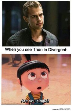 When you see Theo James in Divergent Divergent Jokes, Divergent Four, Divergent Hunger Games, Divergent Fandom, Divergent Trilogy, Divergent Insurgent Allegiant, Insurgent Quotes, Divergent Theo James, Tris Und Four