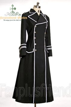made by polyester satin twill, full lined; white ribbon lines; high slit on right front side; double lines of buttons, extra large sleeve cuffs; standard length: mid-calf length; *colors available: black coat +white ribbon dark red coat +white ribbon navy blue coat +white ribbon