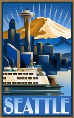Seattle Art Deco Vintage Poster