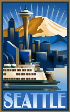 Seattle Art Deco Vintage Poster