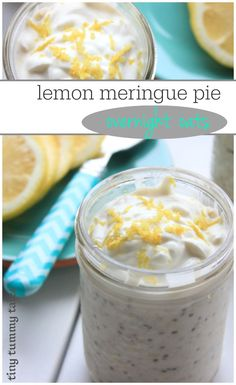 Delicious sweet and sour lemon meringue pie overnight oats recipe This whole foods breakfast recipe is perfect for a quick easy make ahead breakfast Yum awesome for healt. Healthy Meals For Kids, Healthy Breakfast Recipes, Kids Meals, Healthy Recipes, Healthy Breakfasts, Breakfast Smoothies, Healthy Lemon Desserts, Healthy Snacks, Quotes Vegan