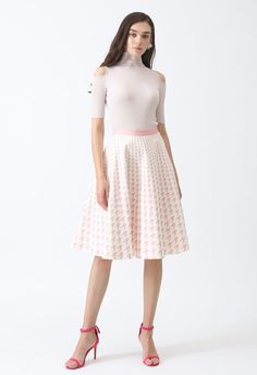 Destination For Houndstooth Midi Skirt in Pink - Retro, Indie and Unique Fashion Unique Fashion, Houndstooth, Midi Skirt, High Waisted Skirt, Girly, Elegant, Skirts, Model, Indie