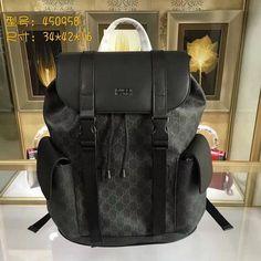66cb577f0e5c Gucci 450958 Supreme GG Black PVC Leather Backpacks
