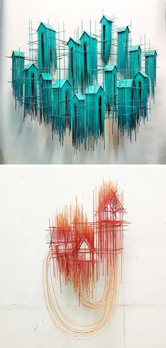 Mimicking Architectural Sketches, Artist David Moreno Forms Sculptures of Countless Metal Strips David Moreno, Sculpture Art, Sculptures, Weird Birds, Colossal Art, Indian Artist, Stone Crafts, Artists Like, Wire Art