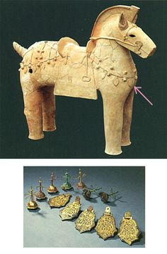 The Kofun period art, Haniwa terracotta clay figure.   The personal ornaments which gave glory to a horse. Nara Japan.