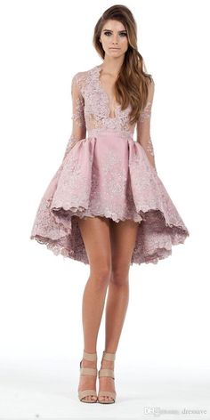 2017 Custom Made A Line Long Sleeves Hghi Low Cocktail Party Dresses Lace Applique Plunging Homecoming Gowns Prom Short Mini Dress