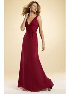 Robe de soirée rouge bordeaux col V en mousseline  163€