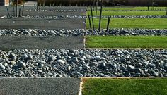 Spy Valley Winery. Overflow from the water feature is carried through a series of linear gravel channels from where it is discharge into the adjacent stream.