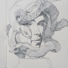 A random sketch from last week some time. Didn't mean for it to be Medusa but whatevs. #sketch #sketchbook #SCHMANDREWART #illustration #illustrator #illustratorsofinstagram #art #artist #artistsofinstagram #portrait #medusa