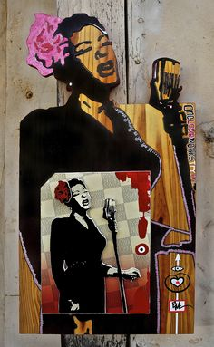 """""""Lady Day"""" - by Buggsy Malone © 2010 (acrylic & mixed media on wood). Inspired by unknown artist. Billie Holiday, Neo Traditional, Where The Heart Is, Ladies Day, All Things, Pop Culture, First Love, African, Artist"""