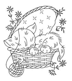 vintage embroidery pattern, to make it feel Christmas like change out the flowers for Holly and berries, make the basket green and the yarn red. Then it would go from a spring time feel to a Christmas feel embroidery pattern. Embroidery Transfers, Hand Embroidery Patterns, Vintage Embroidery, Embroidery Applique, Cross Stitch Embroidery, Machine Embroidery, Wedding Embroidery, Mexican Embroidery, Embroidery Sampler
