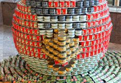 The Canstruction Art & Charity exhibition featuring sculptures made from canned goods - including quite a few canned Angry Birds - will be on display throughout the World Financial Center in NYC until November 21st.