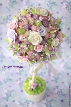"""Купить Топиарий """"""""Miamur"""""""" - сиреневый, розовый, шебби-шик, нежность, розы, подарок, маме"""