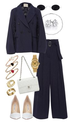 """Suit style"" by ashantiannasmith ❤ liked on Polyvore featuring Sea, New York, Rolex, Chanel, Manolo Blahnik, Cartier and Chopard"