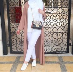 open blush abaya-Pre-spring hijab outfits – Just Trendy Girls
