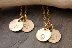 Initial Necklace Set of 2 to 10  bridesmaid gift set by MegusAttic, $72.50