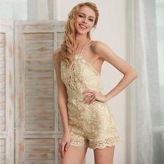 Sparkling Summer Jumpsuit Romper Strap Floral Gold Elegant Jumpsuit