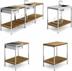outdoor modulares küchen system idee design viteo teile Outdoor Garden Sink, Outdoor Kitchen Patio, Outdoor Sinks, Outdoor Kitchen Design, Mini Kitchen, Summer Kitchen, Miniature Kitchen, Kitchen Cart, Kitchen Furniture