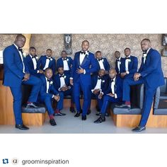 Amazing #groom style! #Repost @groominspiration ・・・ S Q U A D || Blue is the colour of choice for grooms and groomsmen ||  by @demiophotography || Groom's suit by @okunoren Bow tie by @mrsbowtieuk || Groomsmen's suits by @tmlewin Bow ties by @thetiebar  #GroomInspiration #Groom #GroomsMen #WAde2015 #WeddingPhotography #weddinginspiration #weddingdetails #weddingdetail #weddingstyle #grooms #weddingparty #bluewedding