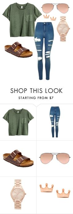 """""""Casual Day Out"""" by jasmin-renee on Polyvore featuring Topshop, Birkenstock, Ray-Ban, Michael Kors and Mminimal"""