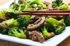 Gingery Broccoli and Beef (great for all phases) Ingredients: olive oil 2 cloves of garlic, minced 1 lb petite sirloin steak, cut into very thin strips 2 Tbs lemon juice 2 tsp freshly grated ginger 2 tsp freshly ground black pepper 1/2 tsp red pepper flakes 1/4 to 1/2 cup low sodium chicken broth 2