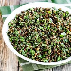 Freshly chopped herbs in garlicky Lebanese Lentil Salad; this low-glycemic salad is vegan dairy-free and gluten-free. Lentil Recipes, Vegetarian Recipes, Cooking Recipes, Healthy Recipes, Vegan Vegetarian, Paleo, Parsley Recipes, Legumes Recipe, Green Lentils