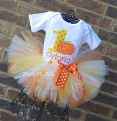 Little Candy Corn Pumpkin Birthday Tutu Outfit on Etsy, $54.95