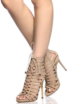 Nude Faux Nubuck Lace Up Multi Strap Heels @ Cicihot Heel Shoes online store sales:Stiletto Heel Shoes,High Heel Pumps,Womens High Heel Shoes,Prom Shoes,Summer Shoes,Spring Shoes,Spool Heel,Womens Dress Shoes