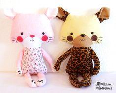 Cat Kitten Tiger Leopard PDF Sewing Pattern Softie Stuffed Toy