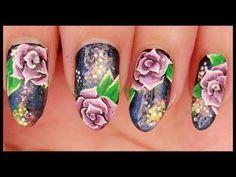 Purple Roses on Galaxy nail art
