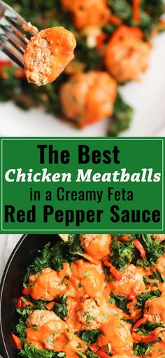 best chicken meatballs with sauteed kale and a roasted red pepper feta cheese sauce. So yummy and ready in 30 minutes! Best Healthy Dinner Recipes, Entree Recipes, Real Food Recipes, Chicken Recipes, Kale Recipes, Chicken Meals, Healthy Chicken, Healthy Food