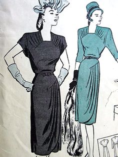 1940s FILM NOIR Draped Dress Pattern BUTTERICK 3513 Flattering Side Draped Dress Day or Evening Cocktail Party Bust 32 Vintage Sewing Pattern