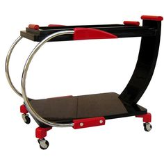 American Art Deco Streamline Red and Black Lacquer Serving Cart | From a unique collection of antique and modern bar carts at http://www.1stdibs.com/furniture/tables/bar-carts/
